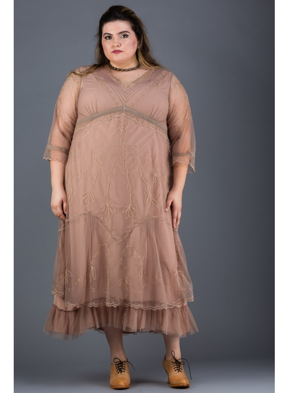 Plus Size Somewhere in Time Dress in Sand by Nataya