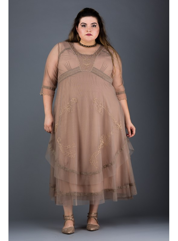 Plus Size Mary Darling Dress in Sand by Nataya