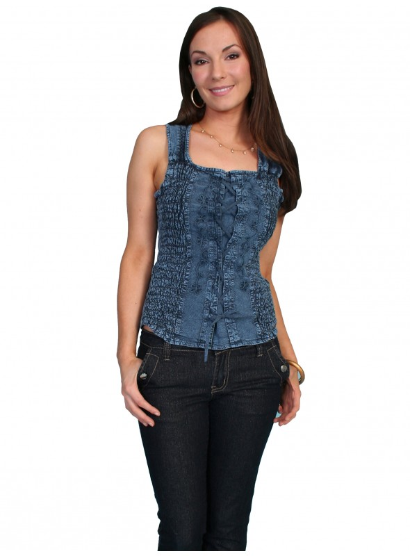 Chantelle Top in Dark Blue by Scully Leather