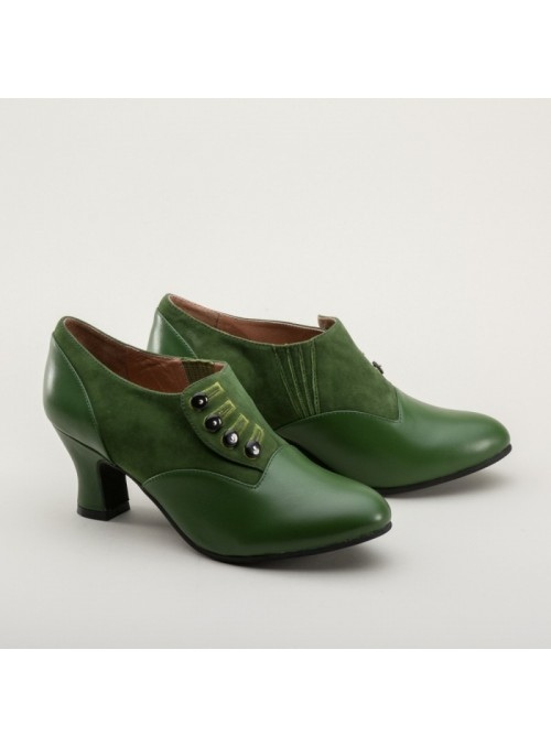 Greta Retro Side-Button Shoes in Green by Royal Vintage Shoes