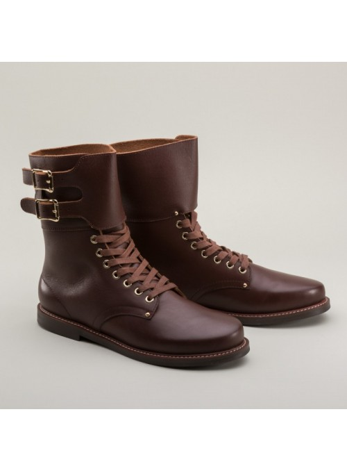 Rosie 1940s Double-Buckle Boots in Brown by Royal Vintage Shoes