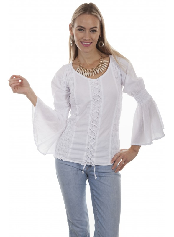 Windsor Blouse in White by Scully Leather