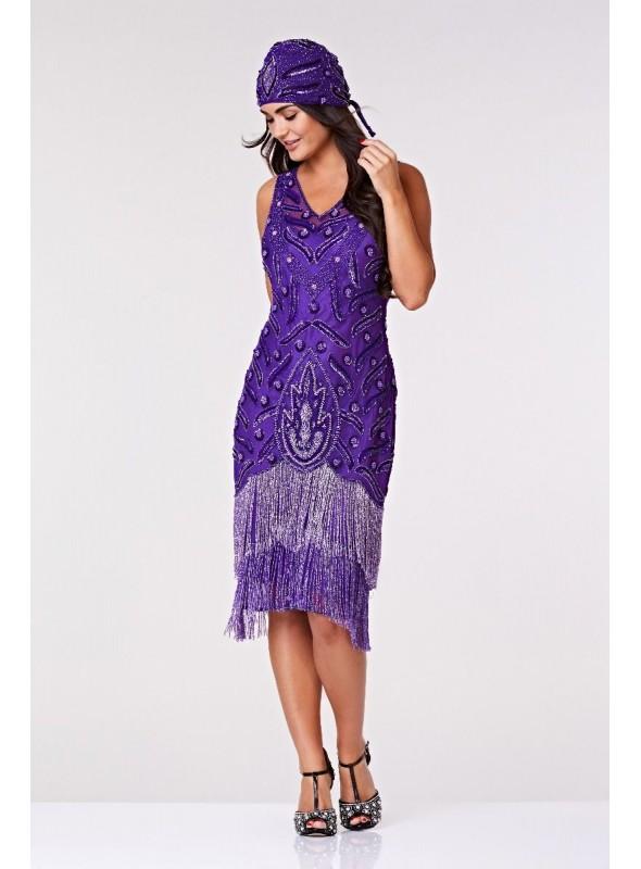 Old Hollywood Fringe Dress in Purple