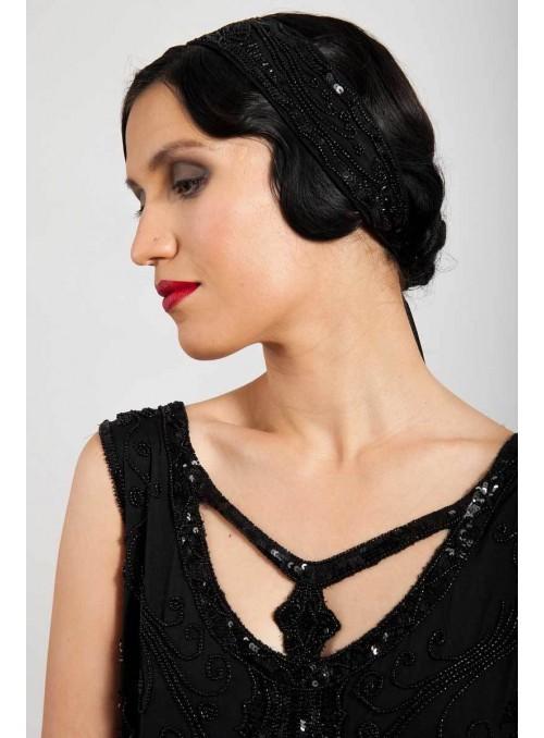 Gloria Headpiece in Black by Tilda Knopf