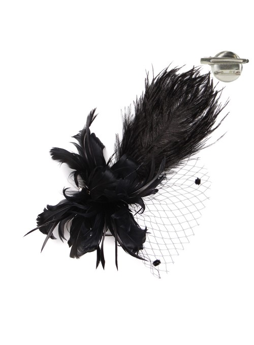1920s Style Long Feather Fascinator in Black