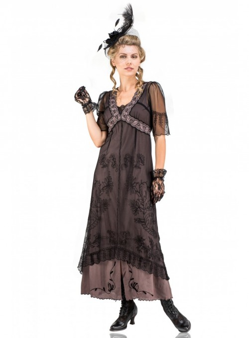 New Vintage Titanic Tea Party Dress in Black/Coco by Nataya