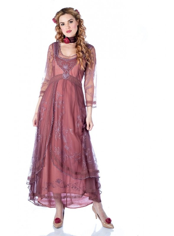 Downton Abbey Tea Party Gown in Mauve by Nataya