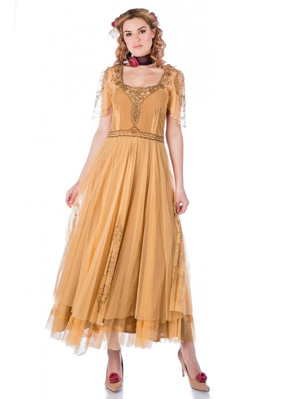 Alice Vintage Style Dress in Gold by Nataya