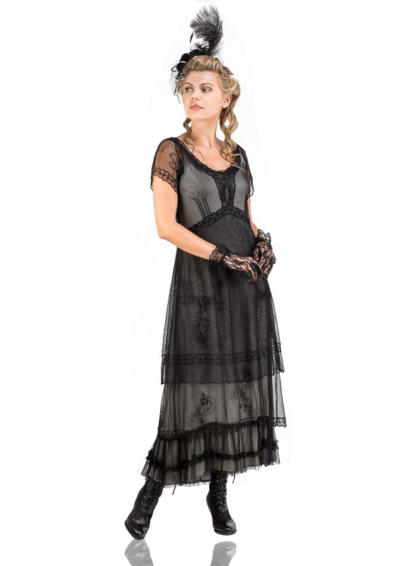 Renee 1920s Flapper Dress in Navy