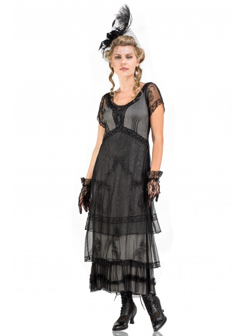 Arrianna Vintage Style Party Dress in Black by Nataya