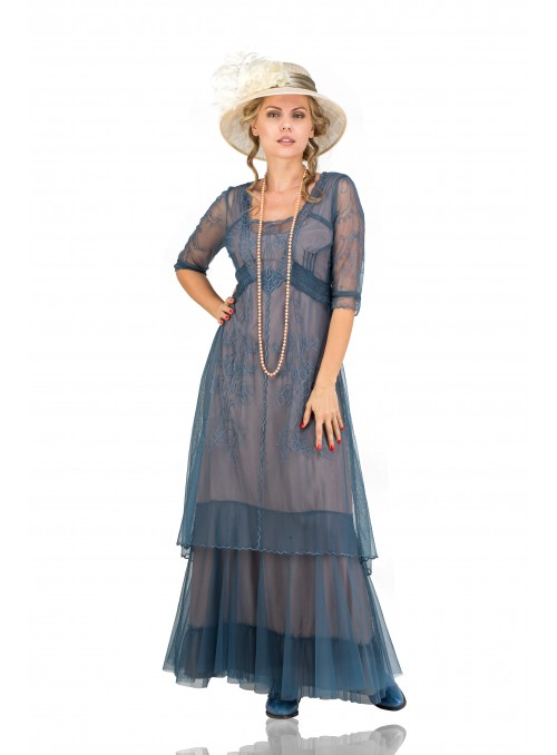 Victoria Vintage Style Party Gown in Azure by Nataya