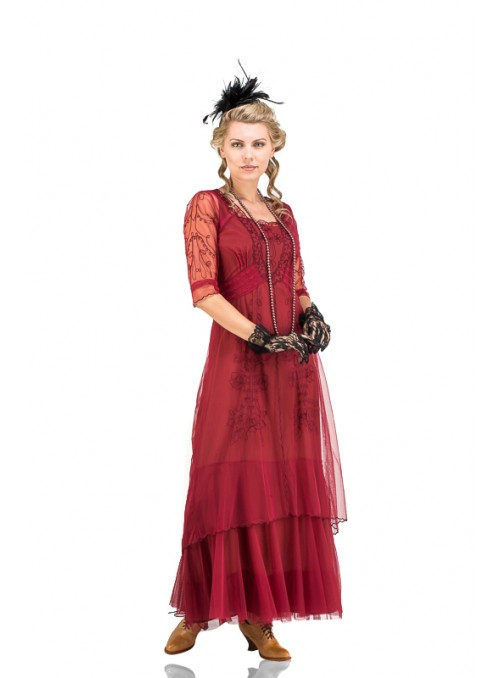 Victoria Vintage Style Party Gown in Berry by Nataya