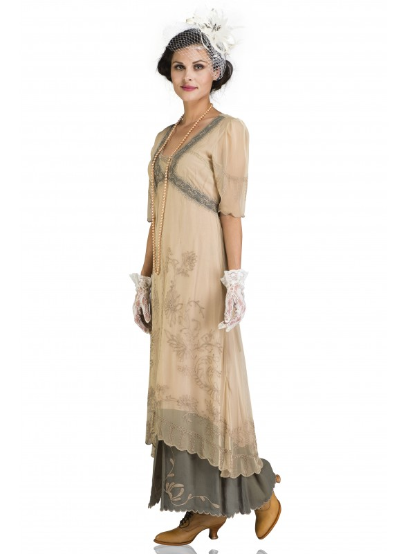 Angie Gatsby Style Maxi Dress in Nude Blush by Gatsby Lady