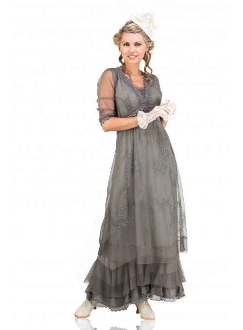 Audrey Vintage Style Party Gown in Smoke by Nataya