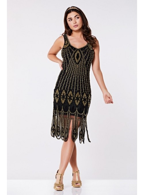 Art Deco Flapper Dress in Black Gold