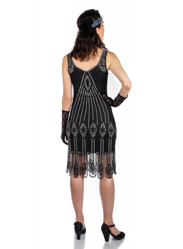 Flapper Style Fringe Party Dress in Black Gold