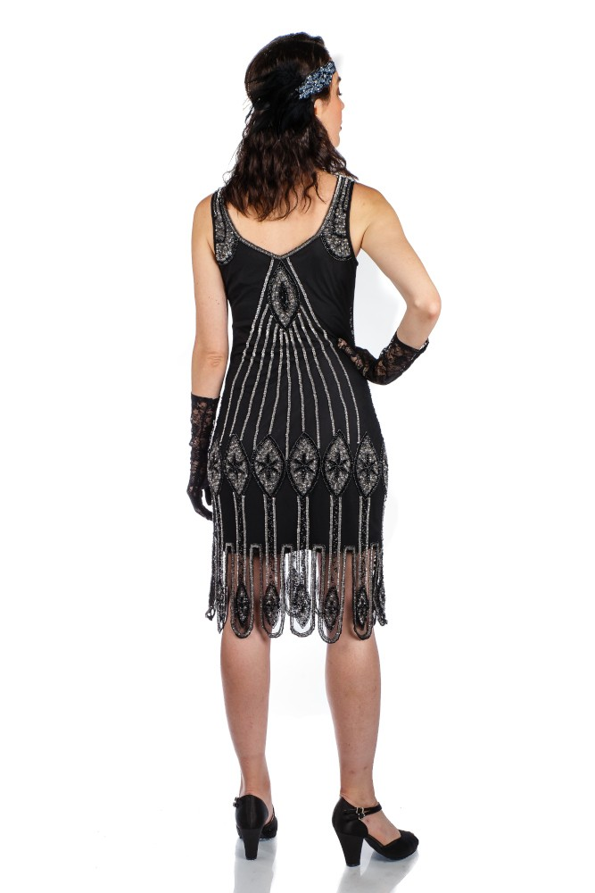 Flapper Outfit: How to Dress Like a 20s Flapper Girl Flapper Style Fringe Party Dress in Black Gold $165.00 AT vintagedancer.com
