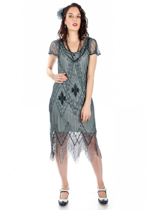 Flapper Style Fringe Party Dress in Blue Grey