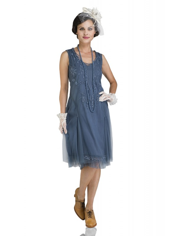 Tara Vintage Style Party Dress in Sapphire by Nataya