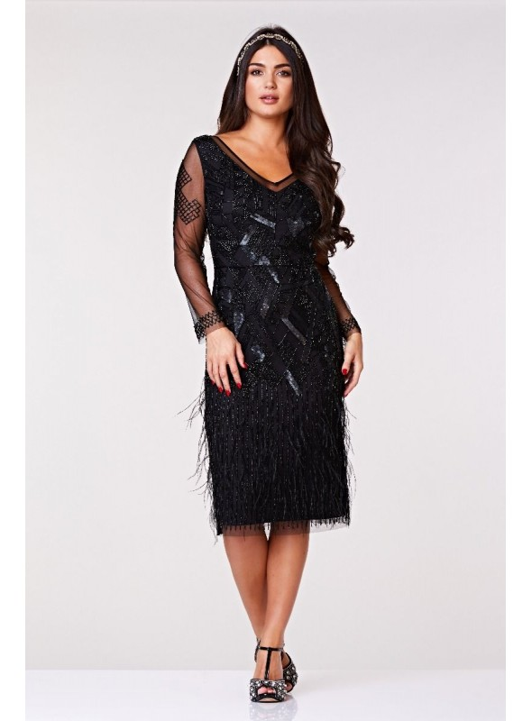 Ivy 1920s Feather Embellished Dress in Black