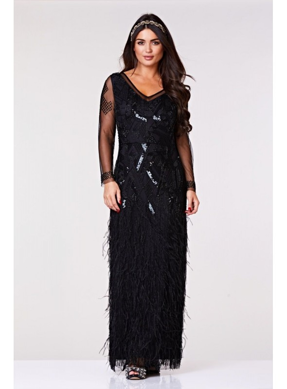 Corinne Feather Embellished Maxi Dress in Black