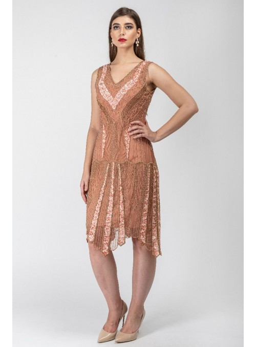 Renee 1920s Flapper Dress in Rose