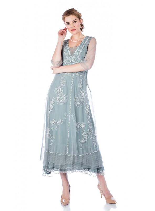 Vintage Titanic Style Dress in Aqua by Nataya