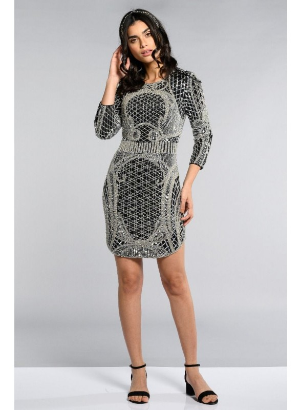 1920 Style Beaded Dress in Silver