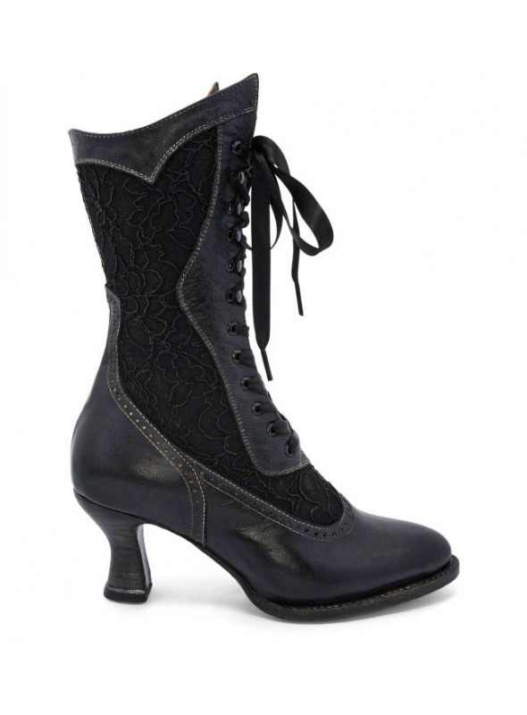 Abigale Victorian Inspired Leather & Lace Boots in Black