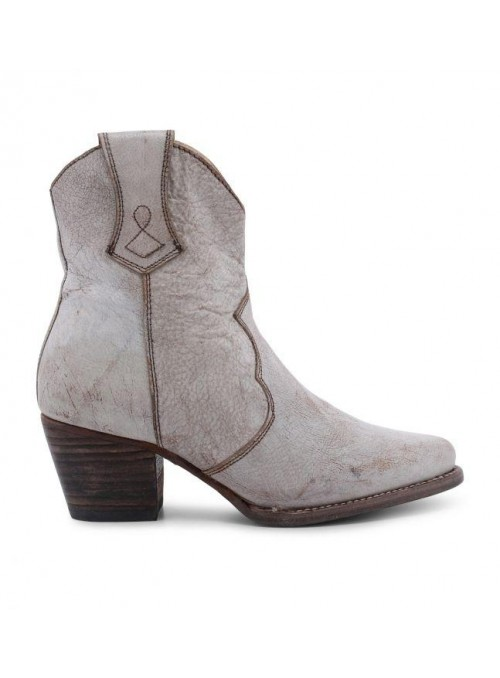 Baila Leather Ankle Cowgirl Boots in White