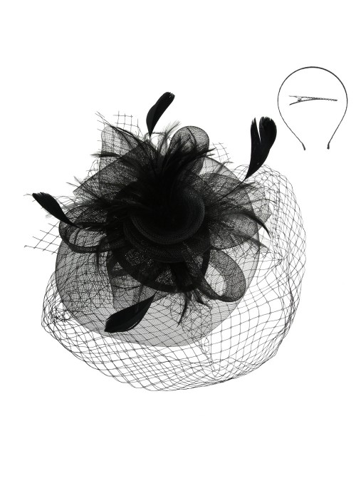 1920s Veil Fascinator in Black