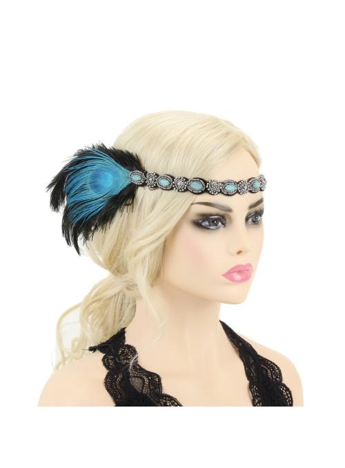 Gatsby Style Beaded Peacock Headband