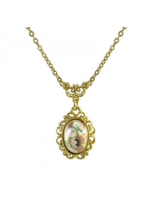 Downton Abbey Flower Decal Oval Drop Necklace