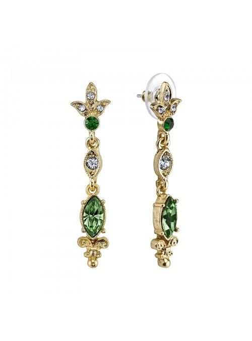 Downton Abbey Emerald Color Stone Drop Earrings