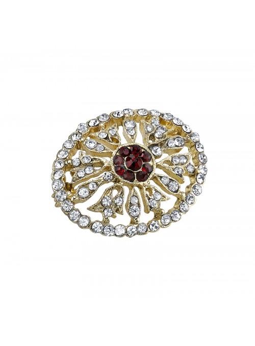 Downton Abbey Crystal Edwardian Pave Oval Pin