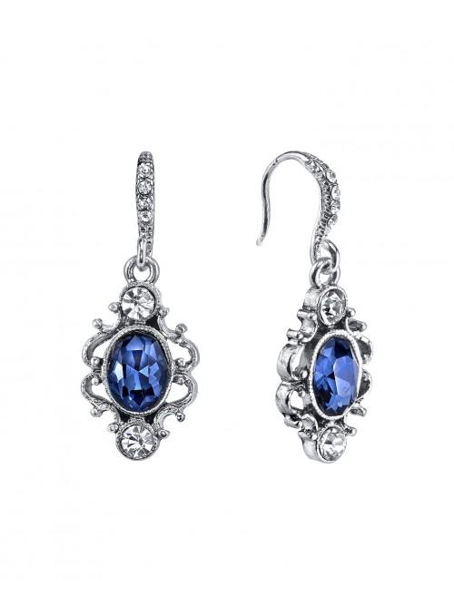 Downton Abbey Blue Crystal Oval Drop Earrings