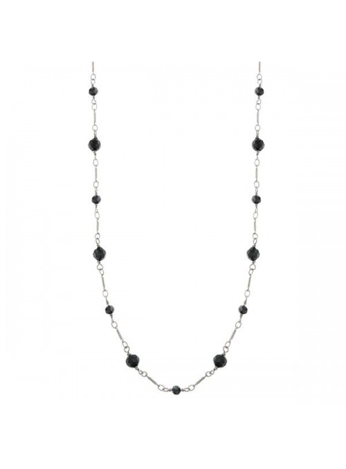 Downton Abbey Black Faceted Long Link Necklace