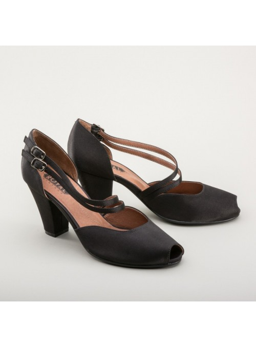 Zella 1940s Duo-Strap Sandals in Black by Royal Vintage Shoes