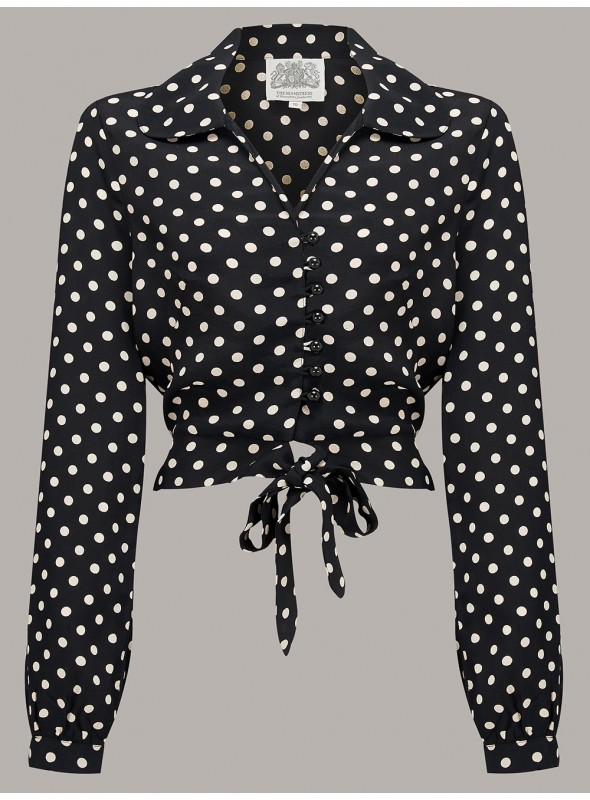 Margaret Blouse in Black and White Spots