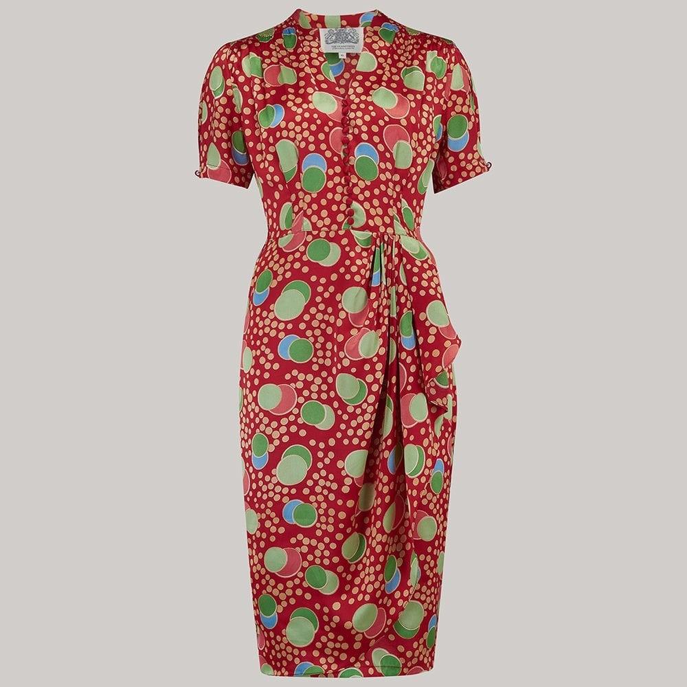 Vintage Tea Dresses, Floral Tea Dresses, Tea Length Dresses Downton Abbey Tea Party Gown in Ruby by Nataya $250.00 AT vintagedancer.com