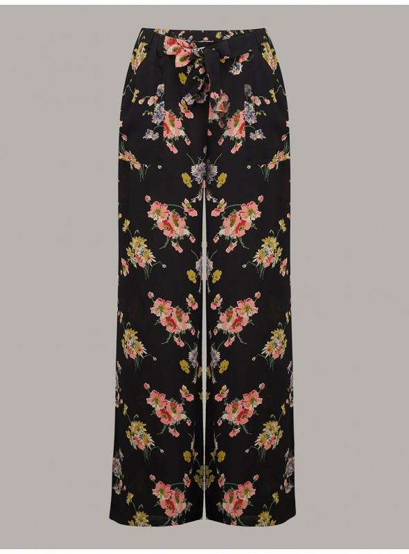 Gretta 1940s Trousers in Mayflower Print