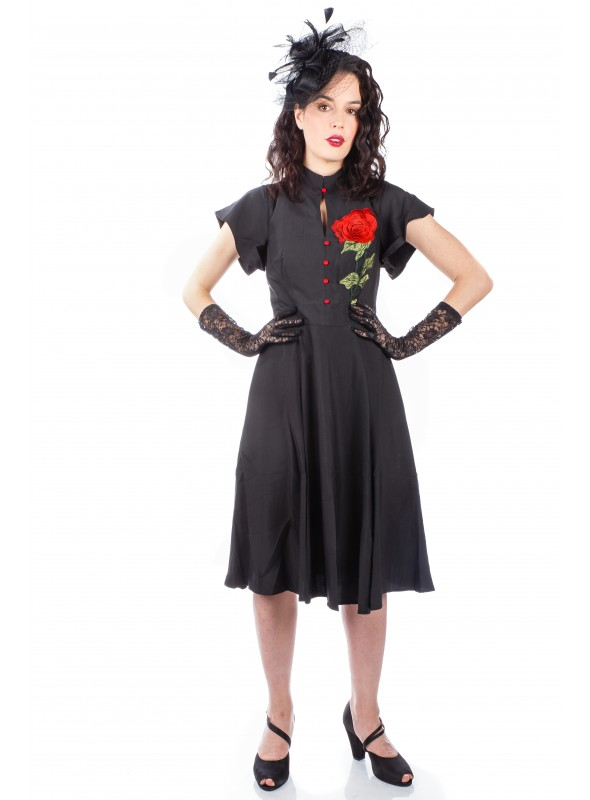 1950s Quinn Red Rose Dress in Black