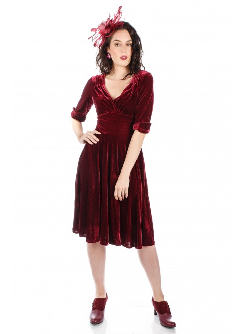 Victoria CL-201 Vintage Style Party Gown in Berry by Nataya