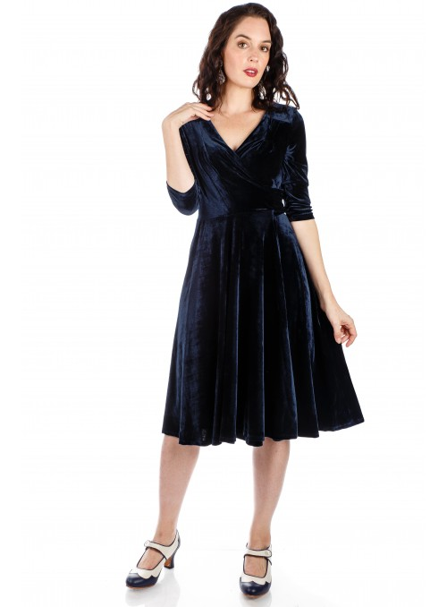1940s Evelyn Velvet Dress in Navy
