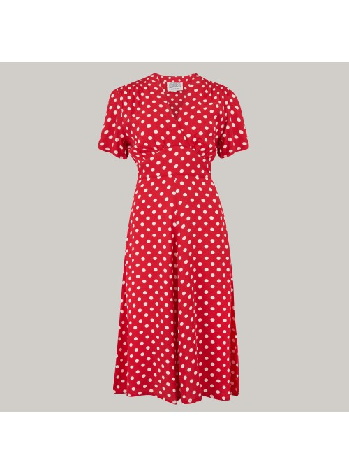 Crawford 1940s Dress in Red Spot