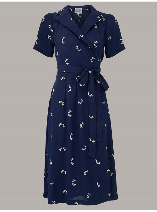 Rita 1940s Dress in Blue Doggy
