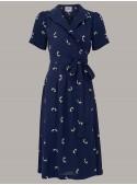 Rita 1940s Dress in Blue Doggy