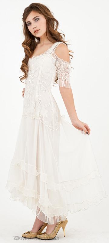 Venetian Wedding Dress in White by Nataya