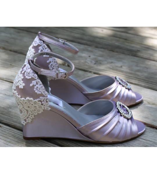 "Vintage wedding shoes on Wedges, Model ""Clara"" - SOLD OUT"
