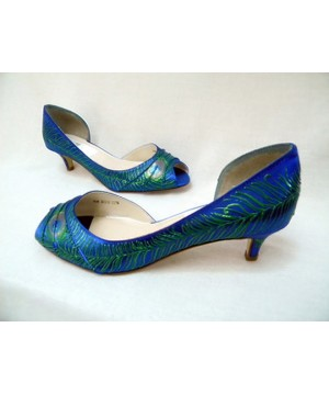 "Flapper style wedding shoes in sapphire, model ""Veronica"""
